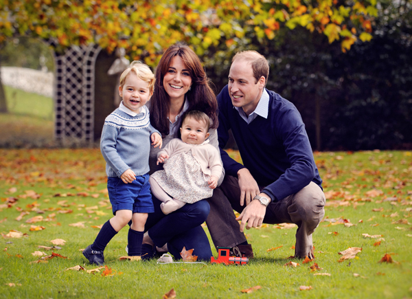 A handout picture obtained in London on December 18, 2015, shows Britain's Prince William (R), Catherine, Duchess of Cambridge (2nd L) and their two children Prince George (L) and Princess Charlotte in a photograph taken in late October 2015 at Kensington Palace in London. Prince George will start attending nursery in Britain from early next year, royal officials announced Friday. The two-year-old son of Prince William and wife Kate is set to attend Westacre Montessori School Nursery in Norfolk, eastern England, near the family's home at Anmer Hall. AFP PHOTO/Chris Jelf/HANDOUT  RESTRICTED TO EDITORIAL USE - MANDATORY CREDIT