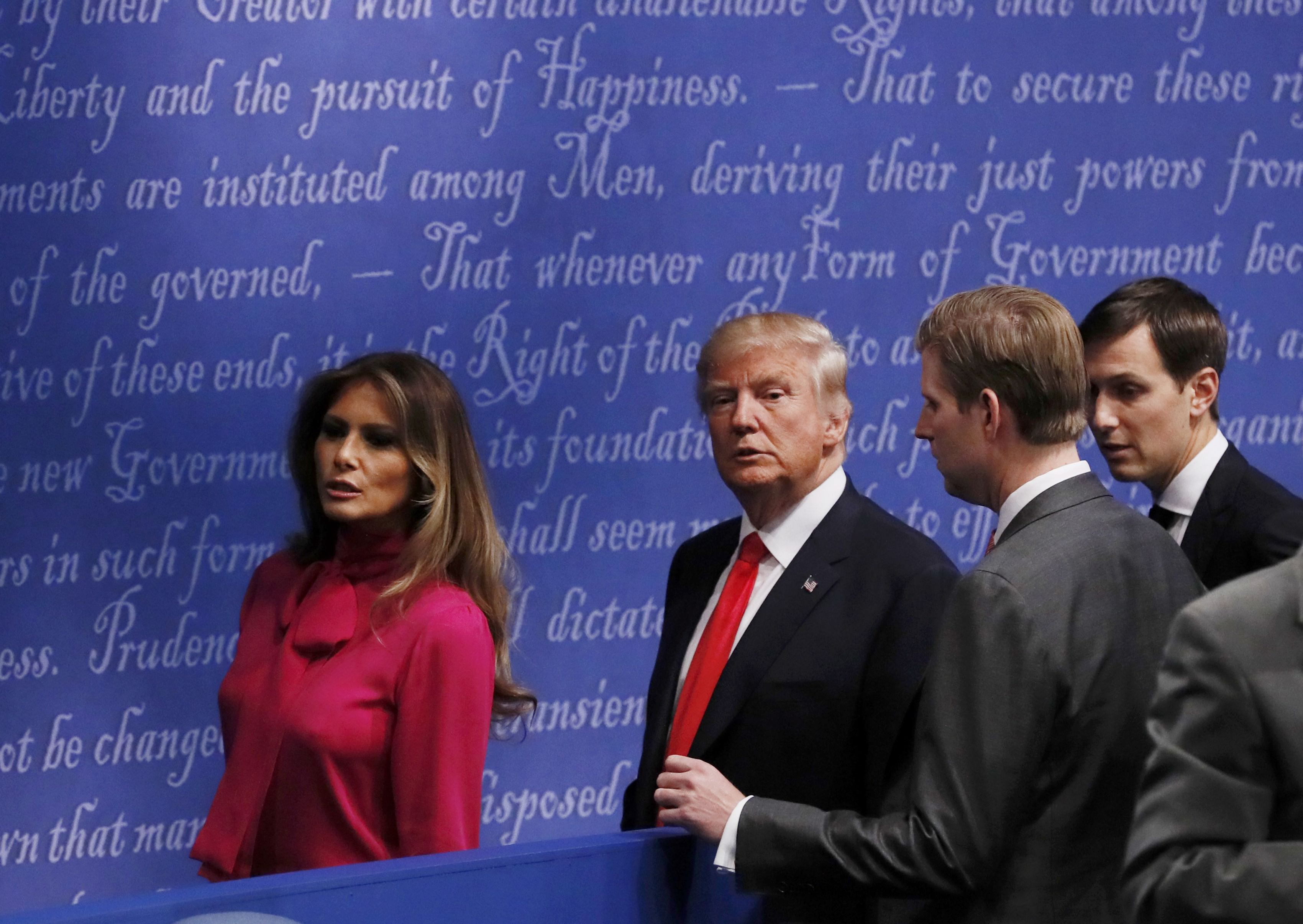 Republican U.S. presidential nominee Donald Trump leaves with Melania Trump and family members after the presidential town hall debate at Washington University in St. Louis, Missouri, U.S., October 9, 2016. REUTERS/Shannon Stapleton