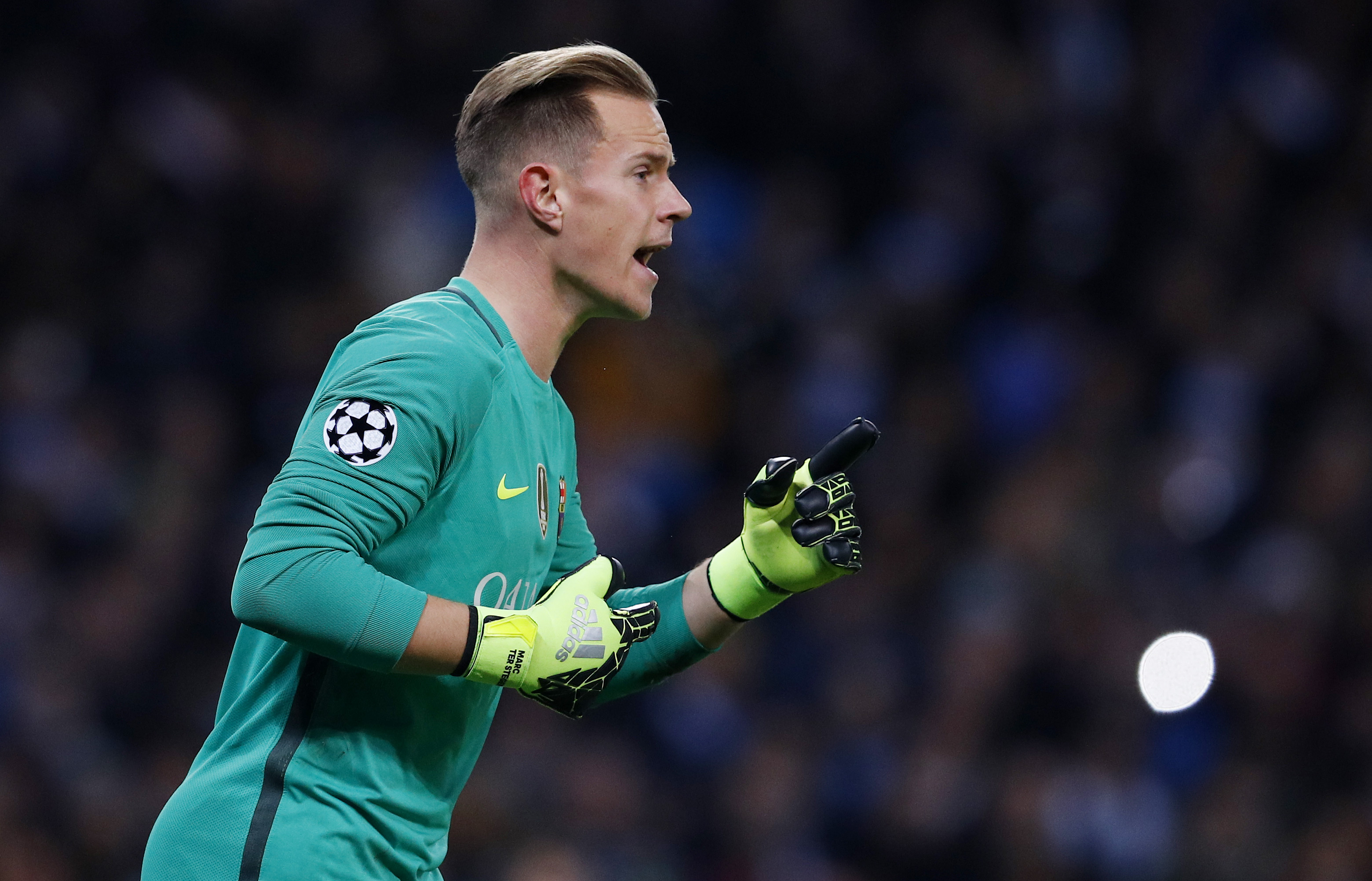 Britain Football Soccer - Manchester City v FC Barcelona - UEFA Champions League Group Stage - Group C - Etihad Stadium, Manchester, England - 1/11/16 Barcelona's Marc-Andre ter Stegen  Reuters / Phil Noble Livepic EDITORIAL USE ONLY.