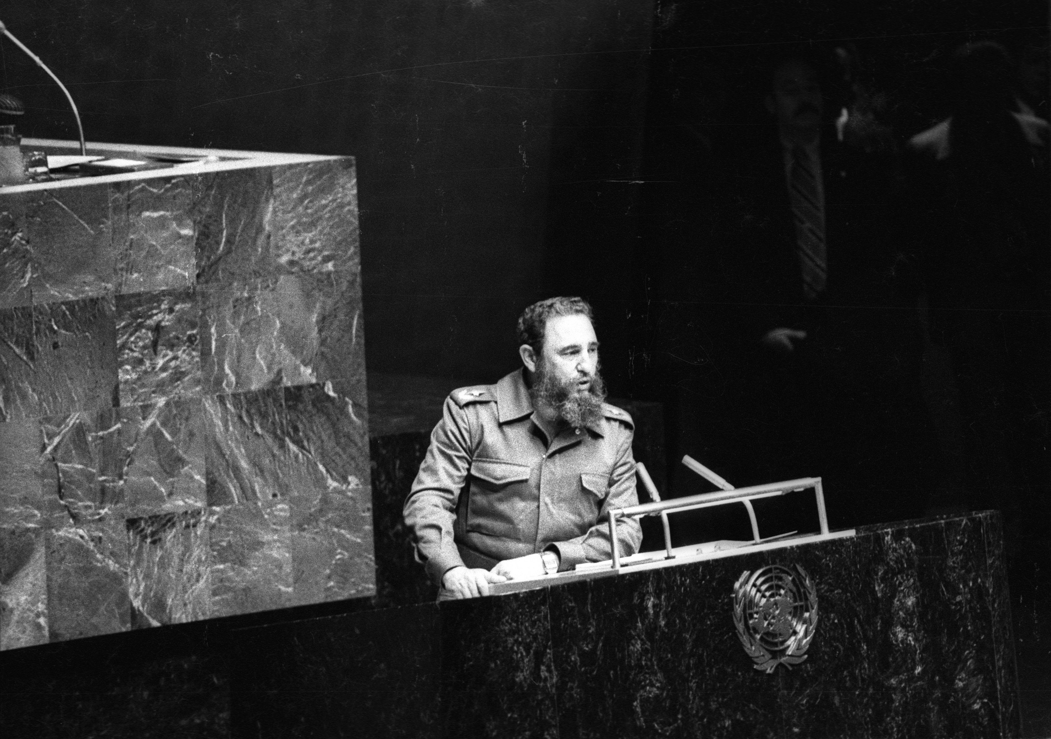 Then Cuban President Fidel Castro addresses the audience as president of the Non-Aligned Movement at the United Nations in New York, in this October 12, 1979 file photo. REUTERS/Prensa Latina/File Photo