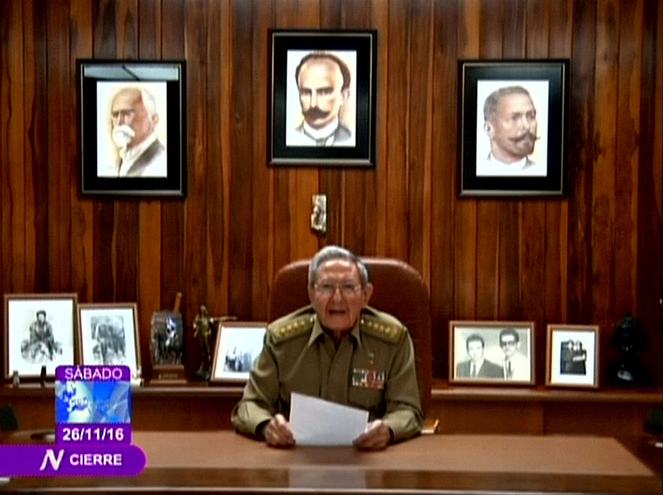 Cuba's President Raul Castro announces the death of his brother, revolutionary leader Fidel Castro, in a still image from government television in Havana, Cuba November 26, 2016. Cuban Television via Reuters TV   EDITORIAL USE ONLY. THIS IMAGE HAS BEEN SUPPLIED BY A THIRD PARTY. IT IS DISTRIBUTED, EXACTLY AS RECEIVED BY REUTERS, AS A SERVICE TO CLIENTS