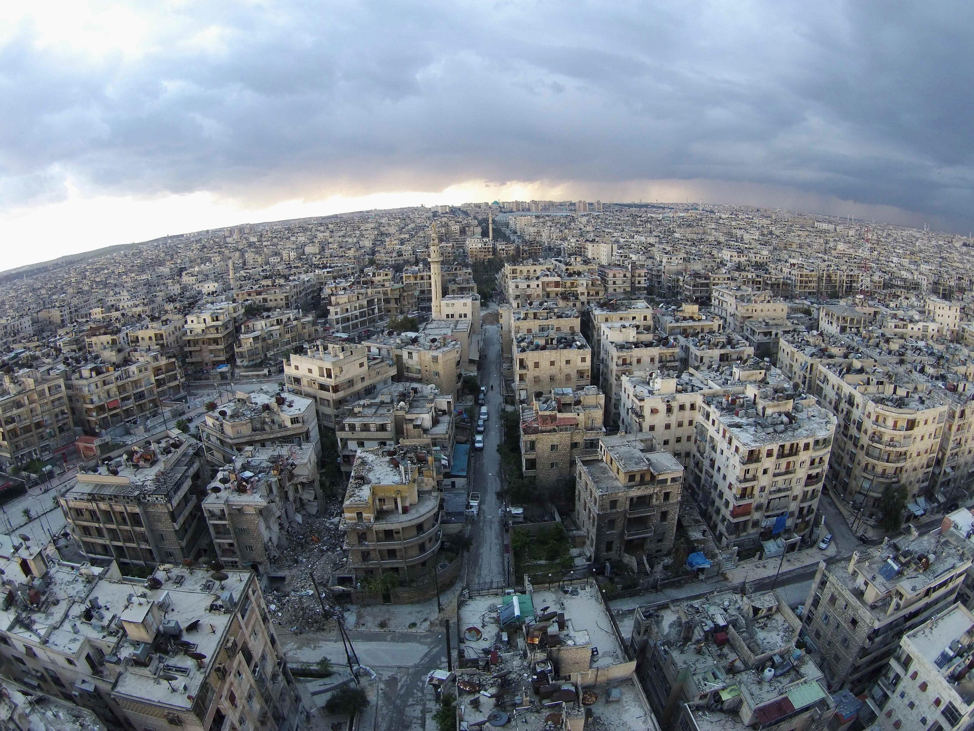 Pogled iz zraka na četvrt Seif El Dawla u Alepu