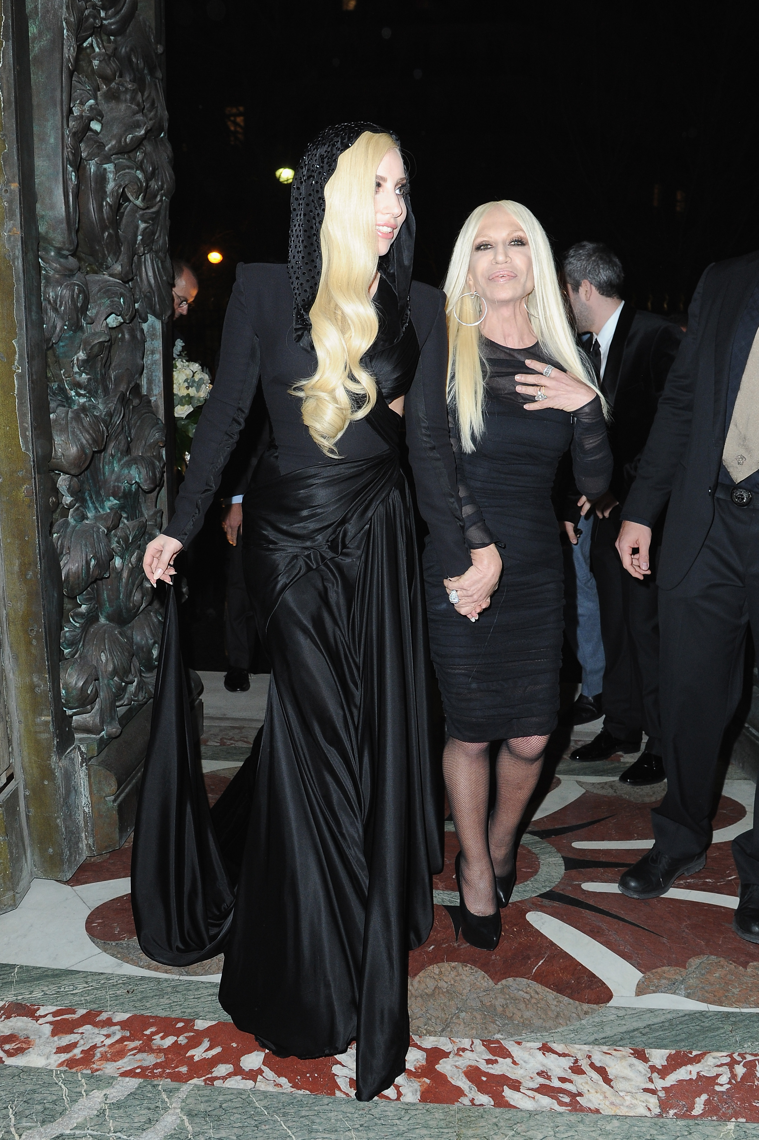 PARIS, FRANCE - JANUARY 19:  (L-R) Lady Gaga and Donatella Versace attend the Atelier Versace show as part of Paris Fashion Week Haute Couture Spring/Summer 2014 on January 19, 2014 in Paris, France.  (Photo by Pascal Le Segretain/Getty Images)