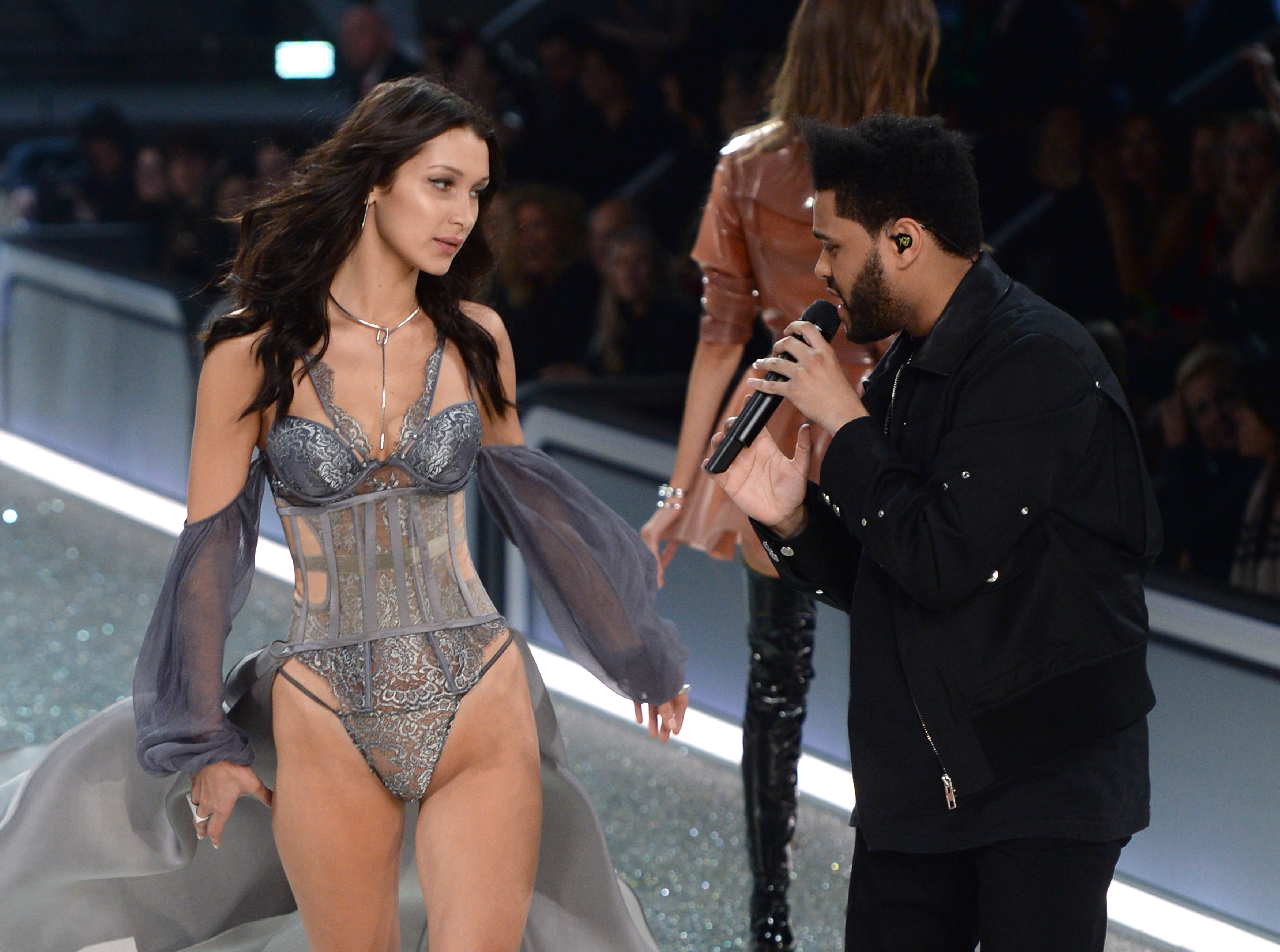 Bella Hadid and Abel Tesfaye aka The Weeknd on the catwalk during the Victoria's Secret Fashion Show 2016 held at The Grand Palais, Paris, France, Image: 307147951, License: Rights-managed, Restrictions: , Model Release: no, Credit line: Profimedia, Press Association