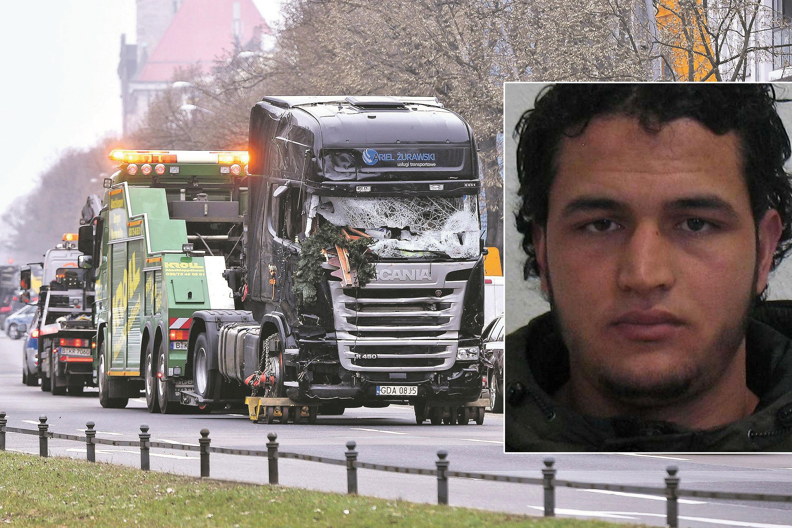 na fotografiji: kamion koji se zabio u božićni sajam i osumnjičeni Anis Amri