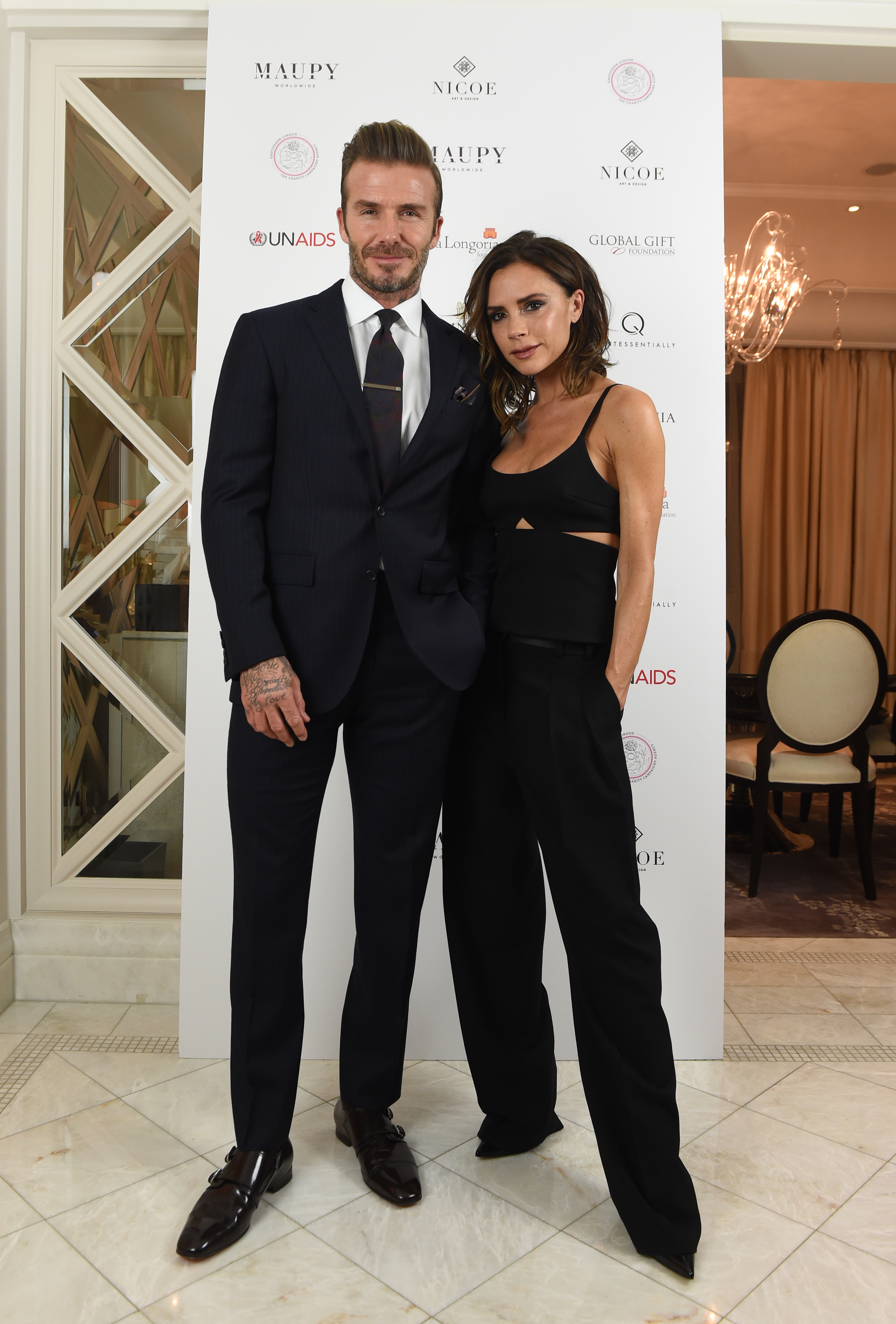 19 November 2016.  The Global Gift Gala, in partnership with Quintessentially, at the Corinthia Hotel, London.   Here: Victoria Beckham and David Beckham, Image: 306229803, License: Rights-managed, Restrictions: , Model Release: no, Credit line: Profimedia, Goff Photos