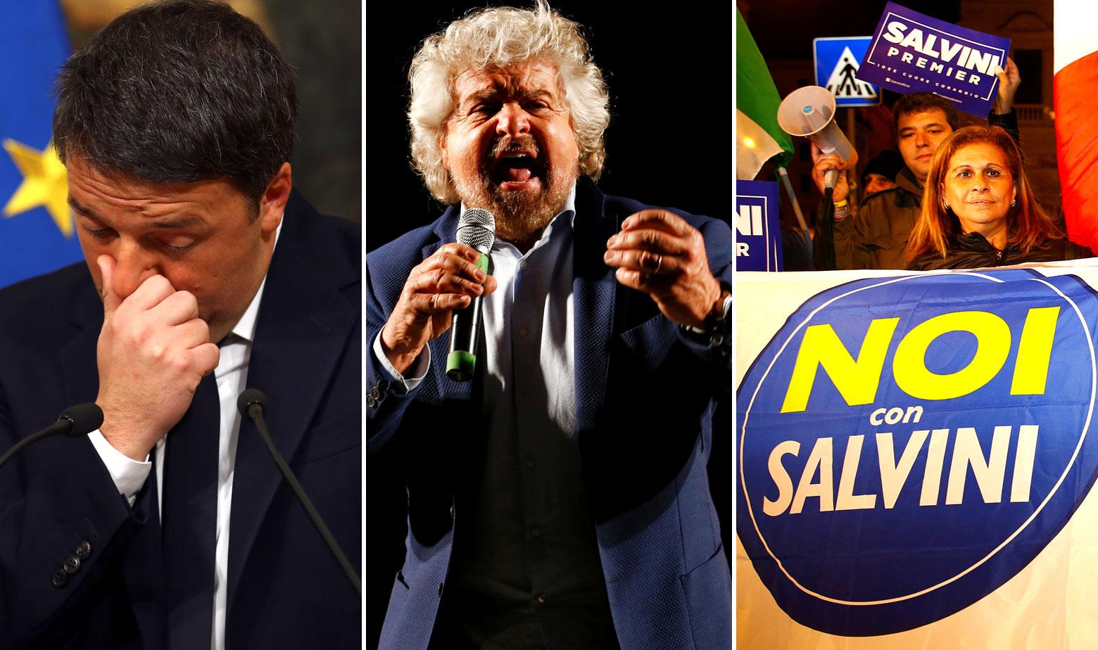 Matteo Renzi, Beppe Grillo, pobornici izbora 'ne' na referendumu