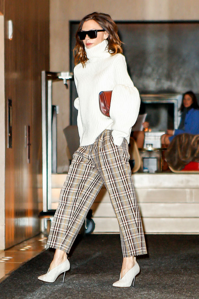 New York, NY - Designer Victoria Beckham exits her hotel looking fashionably on cue, wearing a whit turtleneck and plaid trousers.  The British beauty strutted her stuff making sure to grab everyone's attention, including guest sitting in lobby.          December 7, 2016  To License These Photos, Please Contact:  Maria Buda (917) 242-1505 mbuda@akmgsi.com sales@akmgsi.com  or   Mark Satter (317) 691-9592 msatter@akmgsi.com sales@akmgsi.com www.akmgsi.com, Image: 307832563, License: Rights-managed, Restrictions: , Model Release: no, Credit line: Profimedia, AKM-GSI