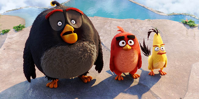 Bomb (Danny McBride), Red (Jason Sudeikis), Chuck (Josh Gad) in Columbia Pictures and Rovio Animation's ANGRY BIRDS.