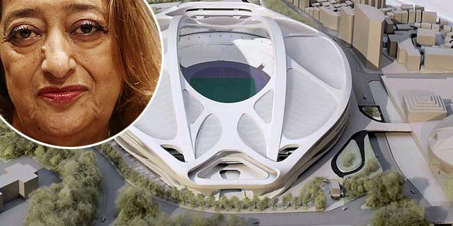 A rendering model of the new National Stadium for 2020 Tokyo Olympics and Paralympics, designed by Iraqi-British architect Zaha Hadid, is displayed at a meeting of memebrs of the advisory council on the construction of the new stadium, in Tokyo, in this photo taken by Kyodo July 7, 2015 and released on July 17, 2015. Japanese Prime Minister Shinzo Abe announced on Friday the scrapping of a plan for a controversial national stadium, the centrepiece of the Tokyo 2020 Olympics, after sky-rocketing costs sparked public outrage. Anger over the stadium, the estimated cost of which had climbed to $2.1 billion, almost twice its expected cost when Tokyo won the bid for the Summer Games in 2013, had become a liability for Abe as he pushes unpopular defence bills through parliament. The new National Stadium was also meant to have been the centrepiece of the 2019 Rugby World Cup. Picture taken July 7, 2015. Mandatory credit REUTERS/Kyodo ATTENTION EDITORS - FOR EDITORIAL USE ONLY. NOT FOR SALE FOR MARKETING OR ADVERTISING CAMPAIGNS. THIS IMAGE HAS BEEN SUPPLIED BY A THIRD PARTY. IT IS DISTRIBUTED, EXACTLY AS RECEIVED BY REUTERS, AS A SERVICE TO CLIENTS. MANDATORY CREDIT. JAPAN OUT. NO COMMERCIAL OR EDITORIAL SALES IN JAPAN. - RTX1KOZT