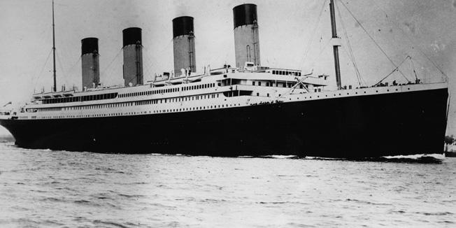 The ill-fated White Star liner RMS Titanic, which struck an iceberg and sank on her maiden voyage across the Atlantic.   (Photo by Central Press/Getty Images)