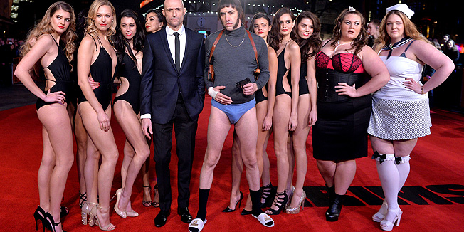 """LONDON, ENGLAND - FEBRUARY 22:  Mark Strong and Sacha Baron Cohen attend the World premiere of """"Grimsby"""" at Odeon Leicester Square on February 22, 2016 in London, England.  (Photo by Anthony Harvey/Getty Images)"""