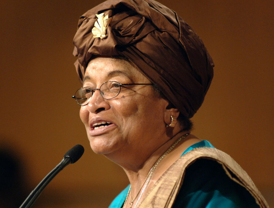 FILE - In this Sept. 18, 2006 file photo, Liberian President Ellen Johnson Sirleaf, addresses the audience at the Kennedy School of Government at Harvard University, in Cambridge, Mass. Liberian President Ellen Johnson Sirleaf, Liberian activist Leymah Gbowee and Tawakkul Karman of Yemen have won the 2011 Nobel Peace Prize, the Norwegian Nobel Committee announced Friday, Oct. 7, 2011. (AP Photo/Josh Reynolds, File)