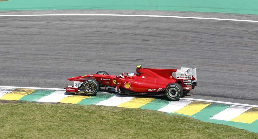 Ferrari driver Fernando Alonso of Spain steers his car during Brazil's Formula One Grand Prix at the Interlagos race track in Sao Paulo, Brazil, Sunday Nov. 7, 2010. (AP Photo/Luca Bruno)