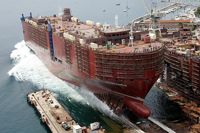 Rijeka, 100609.Danas je u brodogradilistu 3. Maj u Rijeci porinut brod Monte Carlo. Ovaj brod je posljednji iz serije od tri broda koji su napravljeni za njemackog narucioca, a namjena mu je prijevoz automobila.Foto: Zeljko Sop / CROPIX