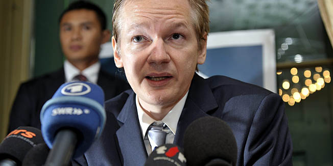 Wikileaks founder Julian Assange speaks the United States and human rights during a press conference at the Geneva press club, in Geneva, Switzerland, Thursday, Nov. 4, 2010. (AP Photo/Keystone, Martial Trezzini)