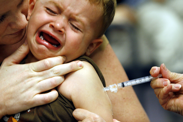 Bobby Callow, 2, of Clifton, Va., gets the swine flu vaccine as his mother Allison Callow comforts him during a vaccine clinic at the Fairfax County Government Center in Fairfax, Va., on Saturday, Oct. 24, 2009. (AP Photo/Jose Luis Magana)