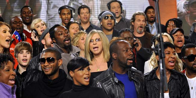 """Actors and singers perform at a recording session of the 1985 song """"We Are The World"""" to raise money for the Haiti earthquake, at Jim Henson Studios in Hollywood February 1, 2010 in this handout photo from WATW Foundation. Celebrities including Celine Dion, Justin Bieber, Usher, Katharine McPhee, will.i.am, Toni Braxton, Barbra Streisand, LL Cool J, Harry Connick Jr., Wyclef Jean, Vince Vaughn, Jeff Bridges and Natalie Cole took part in the """"We Are The World 25 Years for Haiti"""" recording.  REUTERS/Kevin Mazur/WATW (UNITED STATES - Tags: ENTERTAINMENT IMAGES OF THE DAY) NO SALES. NO ARCHIVES. FOR EDITORIAL USE ONLY. NOT FOR SALE FOR MARKETING OR ADVERTISING CAMPAIGNS"""