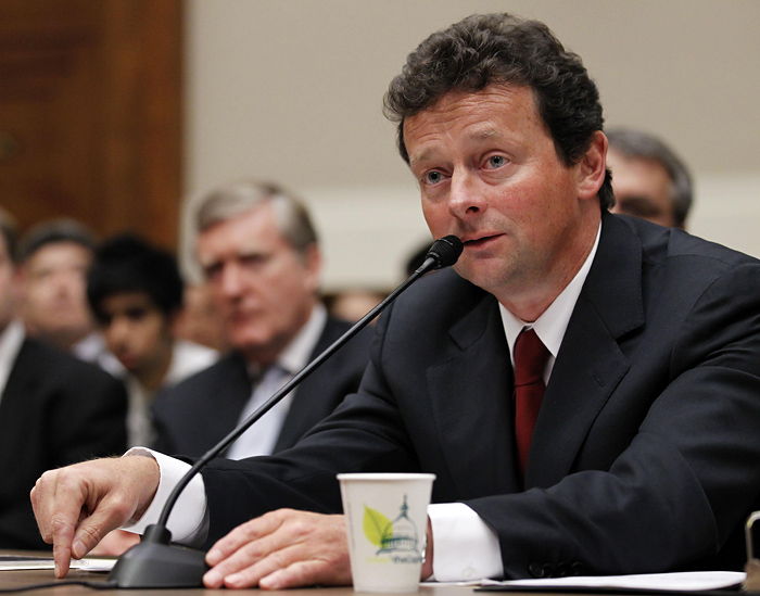 BP CEO Tony Hayward testifies during a House Oversight and Investigations subcommittee hearing on the role of BP in the Deepwater Horizon Explosion and oil spill, on Capitol Hill in Washington, Thursday, June 17, 2010. (AP Photo/Alex Brandon)