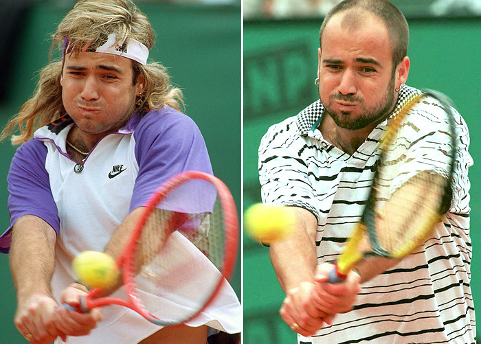 (From L) A combo image of US tennis player Andre Agassi at the Men's French Open finals on June 9, 1991 and four years later during a third-round match on June 2, 1995 in Paris. Former tennis star Andre Agassi wore a lion mane-style wig during the 1990s to hide his baldness excerpts from his autobiography have revealed on October 31, 2009.AFP PHOTO/PATRICK KOVARIK