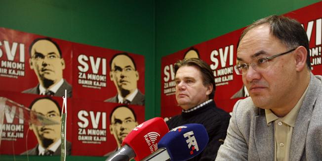 Pula, 281209.Damir Kajin i Ivan Jakovcic dan poslje glasanja za predsjednika Hrvatske odrzali su press konferenciji u prostorijama IDS-a. Kajin pomalo razocaran no zahvalan svojim biracima porucio je kako ce on osobno poduprijeti Ivu Josipovica.Foto: Srecko Niketic / CROPIX