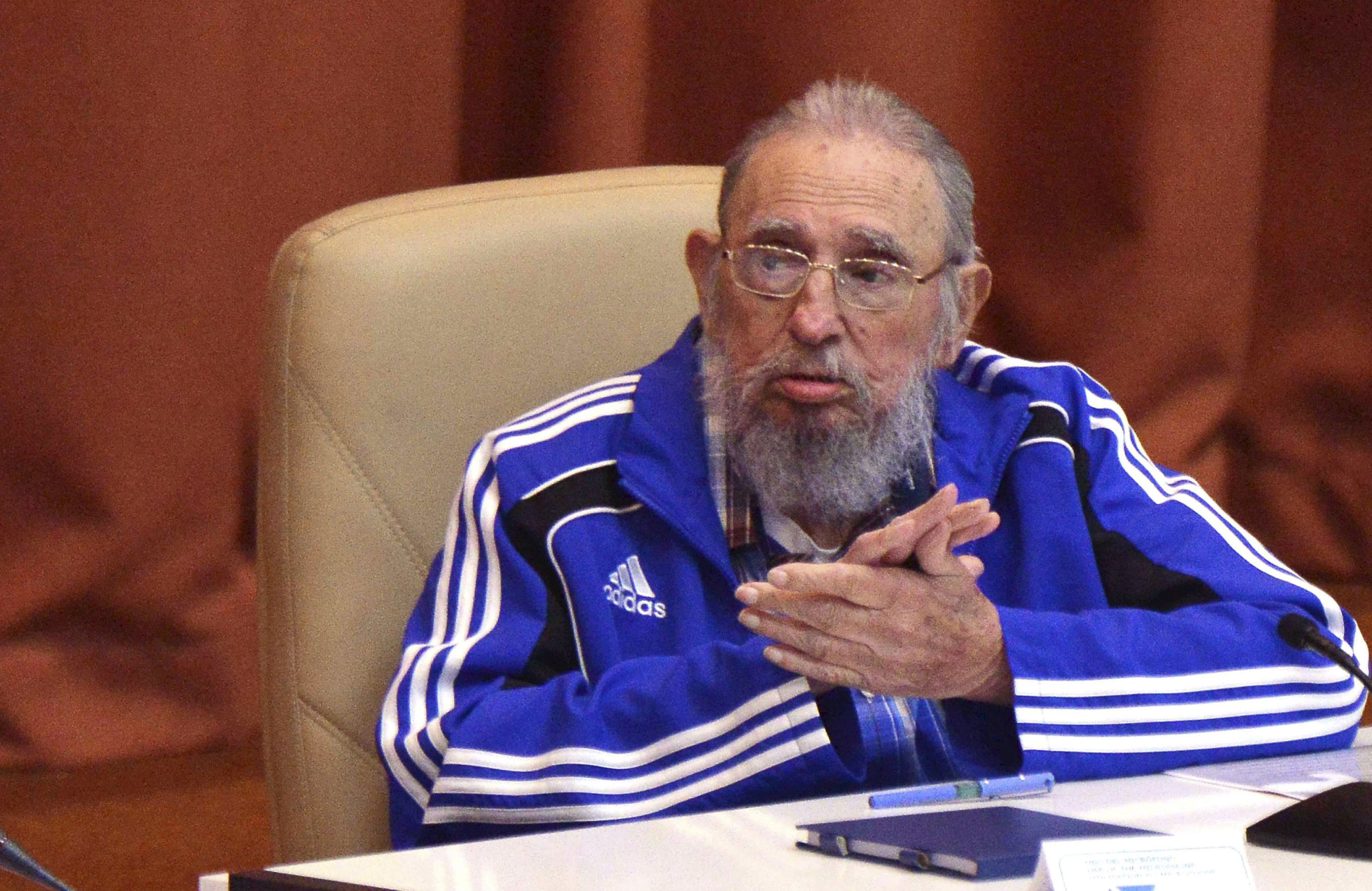 Cuba's former president Fidel Castro attends the closing ceremony of the seventh Cuban Communist Party (PCC) congress in Havana, Cuba, in this handout received April 19, 2016. Omara Garcia/Courtesy of AIN/Handout via REUTERSATTENTION EDITORS - THIS IMAGE WAS PROVIDED BY A THIRD PARTY. EDITORIAL USE ONLY.      TPX IMAGES OF THE DAY