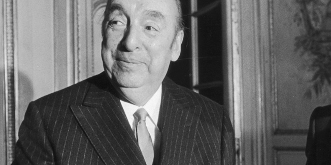 Chilean poet and ambassador to France Pablo Neruda (1904 - 1973, left) with French publisher, Lucien Seve,  who has published three new books on the situation in Chile, 13th October 1972. (Photo by Keystone/Hulton Archive/Getty Images)