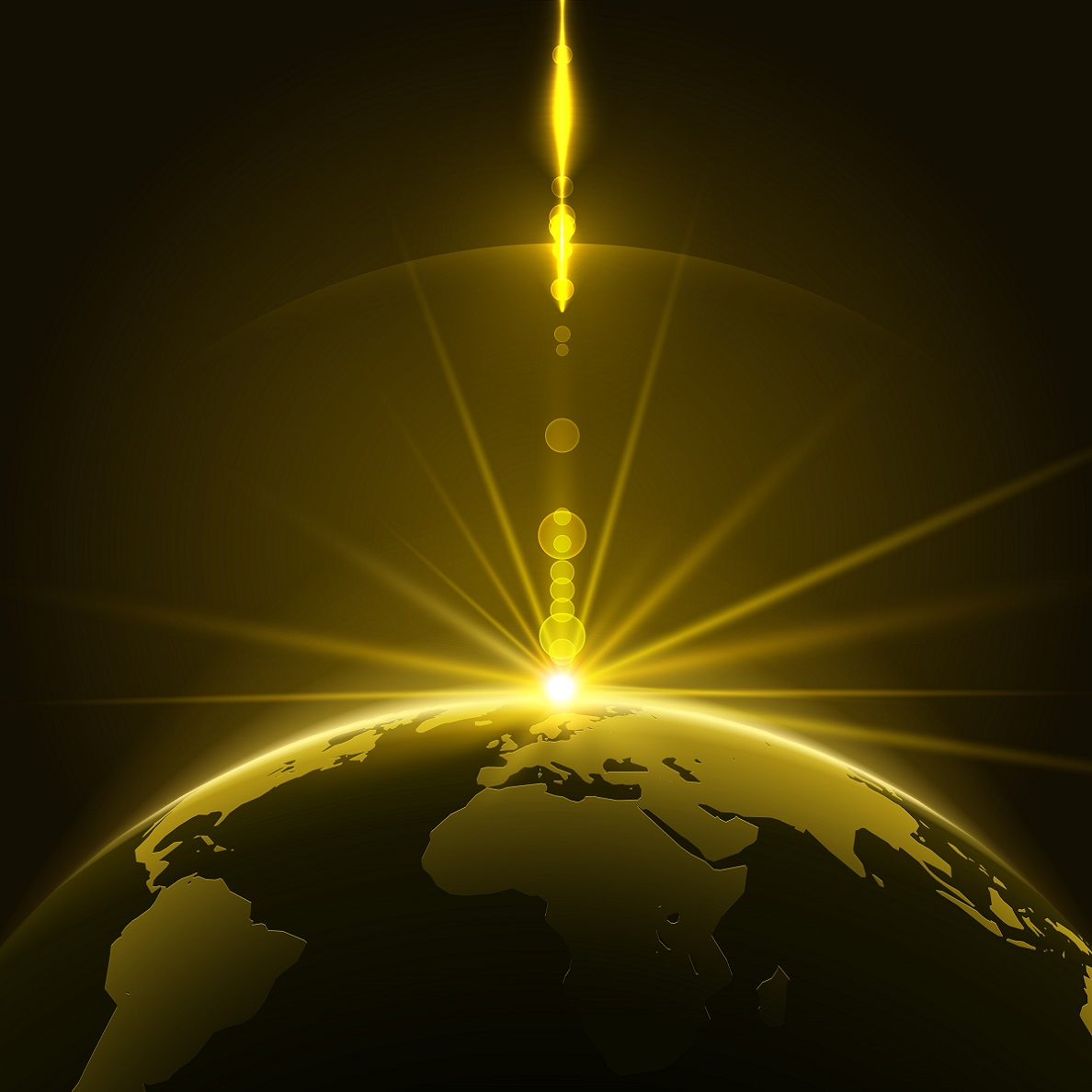 Abstract Shining Sun Over the Planet Earth in the Universe Background. Vector Illustration