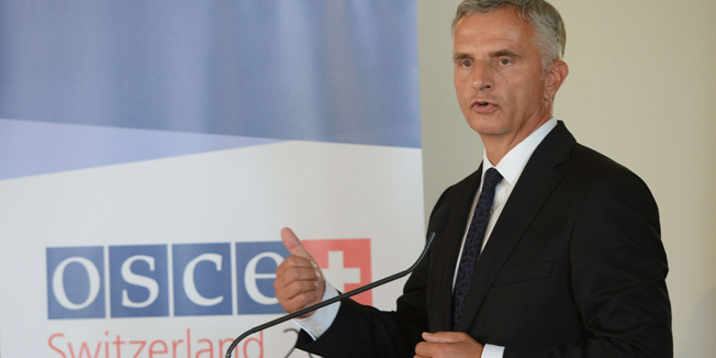 President of the Swiss Confederation and acting OSCE chairman Didier Burkhalter speaks during a press conference at the Organization for Security and Co-operation in Europe (OSCE) Economic and Enviromental Forum on September 10, 2014 in Prague. AFP PHOTO / MICHAL CIZEK