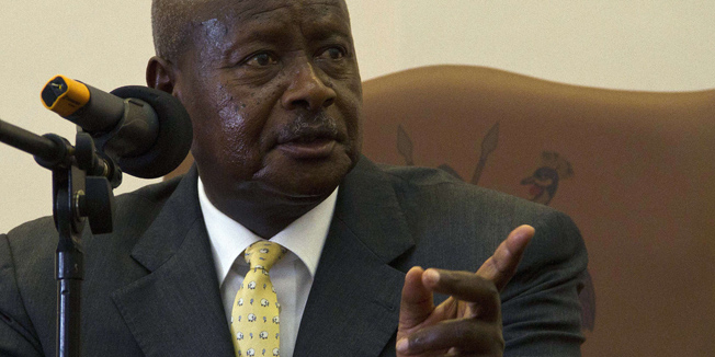 Ugandas President H.E Yoweri Museveni speaks after he signed the Anti-Homosexuality Bill on February 24, 2014 in Entebbe. The bill that was first tabled back in 2009 will see offenders when convicted serve a life imprisonment. President Museveni went ahead to say that he wont let Uganda citizens be forced into such behaviours by the Western Society. AFP PHOTO/ Isaac Kasamani