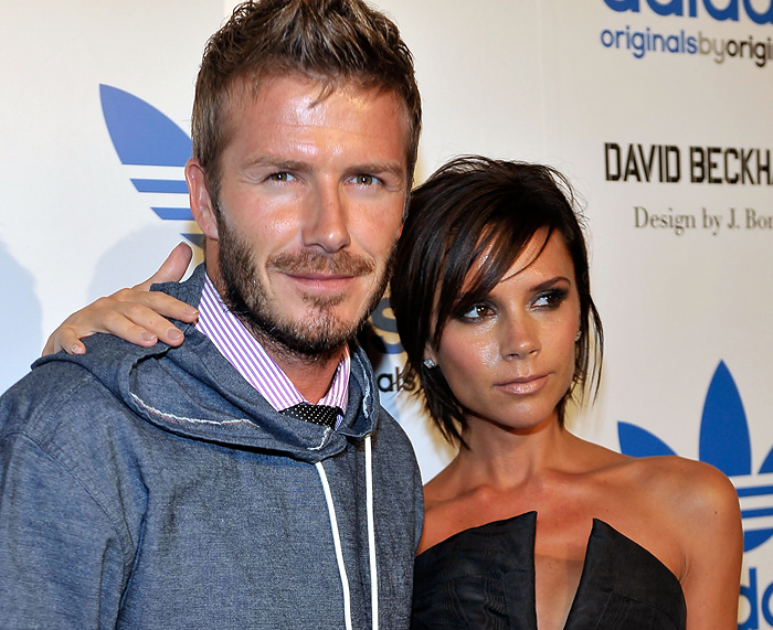 LOS ANGELES, CA - SEPTEMBER 30: (L-R) Sportsman David Beckham and Victoria Beckham arrive at David Beckham/James Bond adidas Originals by Originals Launch Event held next to adidas Originals store at melrose on September 30, 2009 in Los Angeles. California.   Charley Gallay/Getty Images/AFP