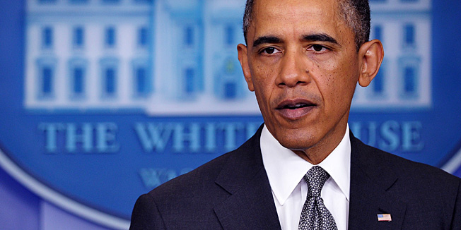 "US President Barack Obama speaks on the Boston Marathon bombings on April 16, 2013 in the Brady Briefing Room of the White House in Washingoton, DC. Obama on Tuesday branded the Boston bombings a ""cowardly"" act of terror, but said it was still unclear if a foreign or domestic group or individual was behind the attacks. ""This was a heinous and cowardly act,"" Obama said at the White House. ""Any time bombs are used to target innocent civilians, it is an an act of terror.""  AFP PHOTO/Mandel NGAN"