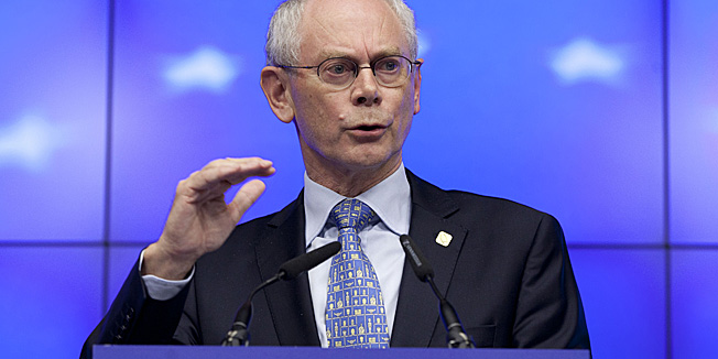 European Council President Herman Van Rompuy speaks during a media conference at an EU Summit in Brussels on Thursday, June 28, 2012. European leaders gathering Thursday in Brussels are set to sign off on a series of measures to boost economic growth but expectations of a breakthrough on the pooling of debt have fallen by the wayside. (AP Photo/Virginia Mayo)