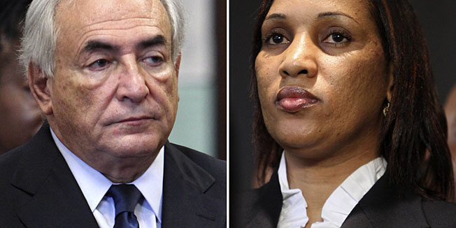 FILE - This combo image made from file photos shows former International Monetary Fund leader Dominique Strauss-Kahn on June 6, 2011, left, and Nafissatou Diallo on July 28, 2011, in New York. Strauss-Kahn and Diallo settled her lawsuit Monday, Dec. 10, 2012, over sexual assault allegations that sank his political career and spurred scrutiny of his dealings with women on two continents. (AP Photos, File)