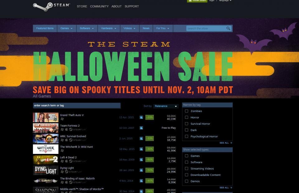 Steam organizirao sniženja igara za Halloween