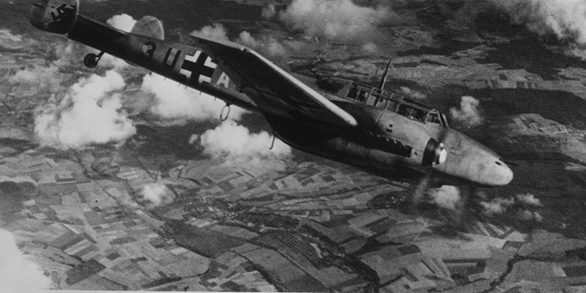 circa 1940:  A German Messerschmitt ME 110 fighter-bomber over Poland.  (Photo by Hulton Archive/Getty Images)