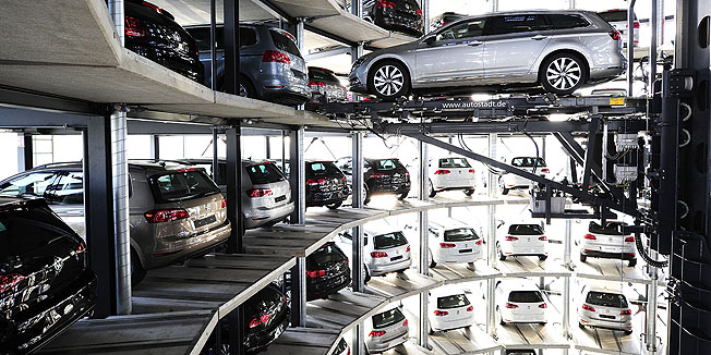 WOLFSBURG, GERMANY - MARCH 10:  A brand new Volkswagen Passat car is stored in a tower at the Volkswagen Autostadt complex near the Volkswagen factory on March 10, 2015 in Wolfsburg, Germany. Volkswagen is Germany's biggest car maker and is scheduled to announce financial results for 2014 later this week. Customers who buy a new Volkswagen in Germany have the option of coming to the Autostadt customer service center in person to pick up their new car.  (Photo by Alexander Koerner/Getty Images)