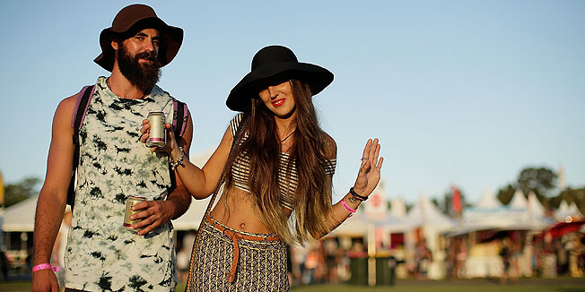 BYRON BAY, AUSTRALIA - MARCH 24:  Festival goers pose at the 2016 Byron Bay Bluesfest on March 24, 2016 in Byron Bay, Australia.  (Photo by Mark Metcalfe/Getty Images)