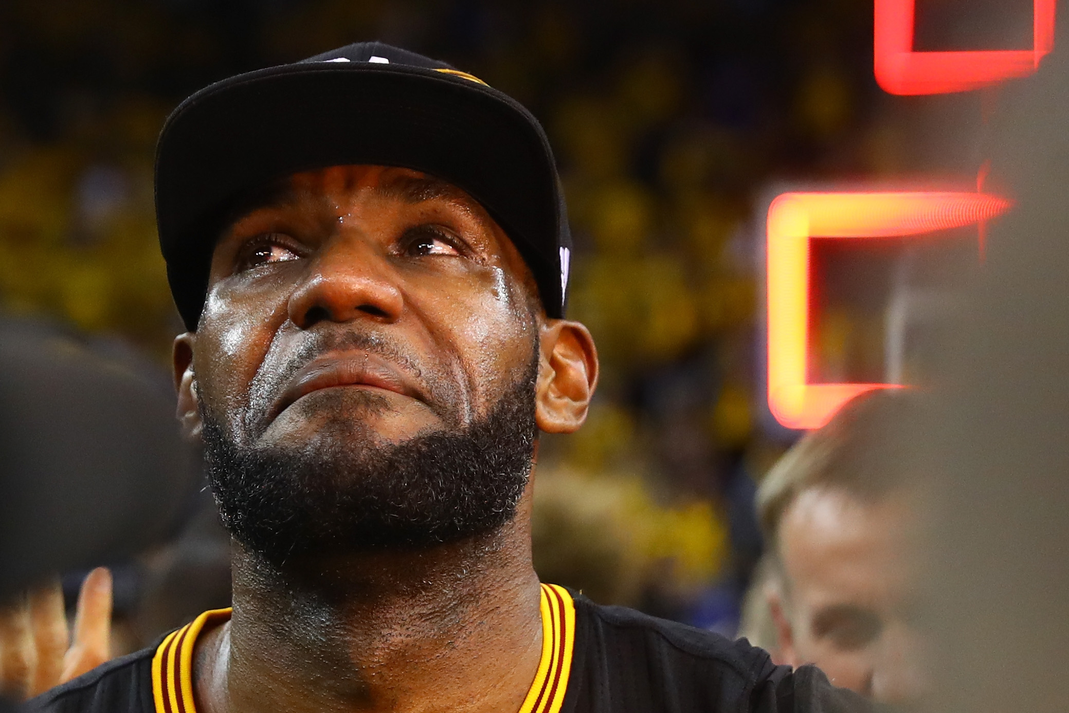 OAKLAND, CA - JUNE 19:  LeBron James #23 of the Cleveland Cavaliers reacts after defeating the Golden State Warriors 93-89 in Game 7 of the 2016 NBA Finals at ORACLE Arena on June 19, 2016 in Oakland, California. NOTE TO USER: User expressly acknowledges and agrees that, by downloading and or using this photograph, User is consenting to the terms and conditions of the Getty Images License Agreement.  (Photo by Ezra Shaw/Getty Images)