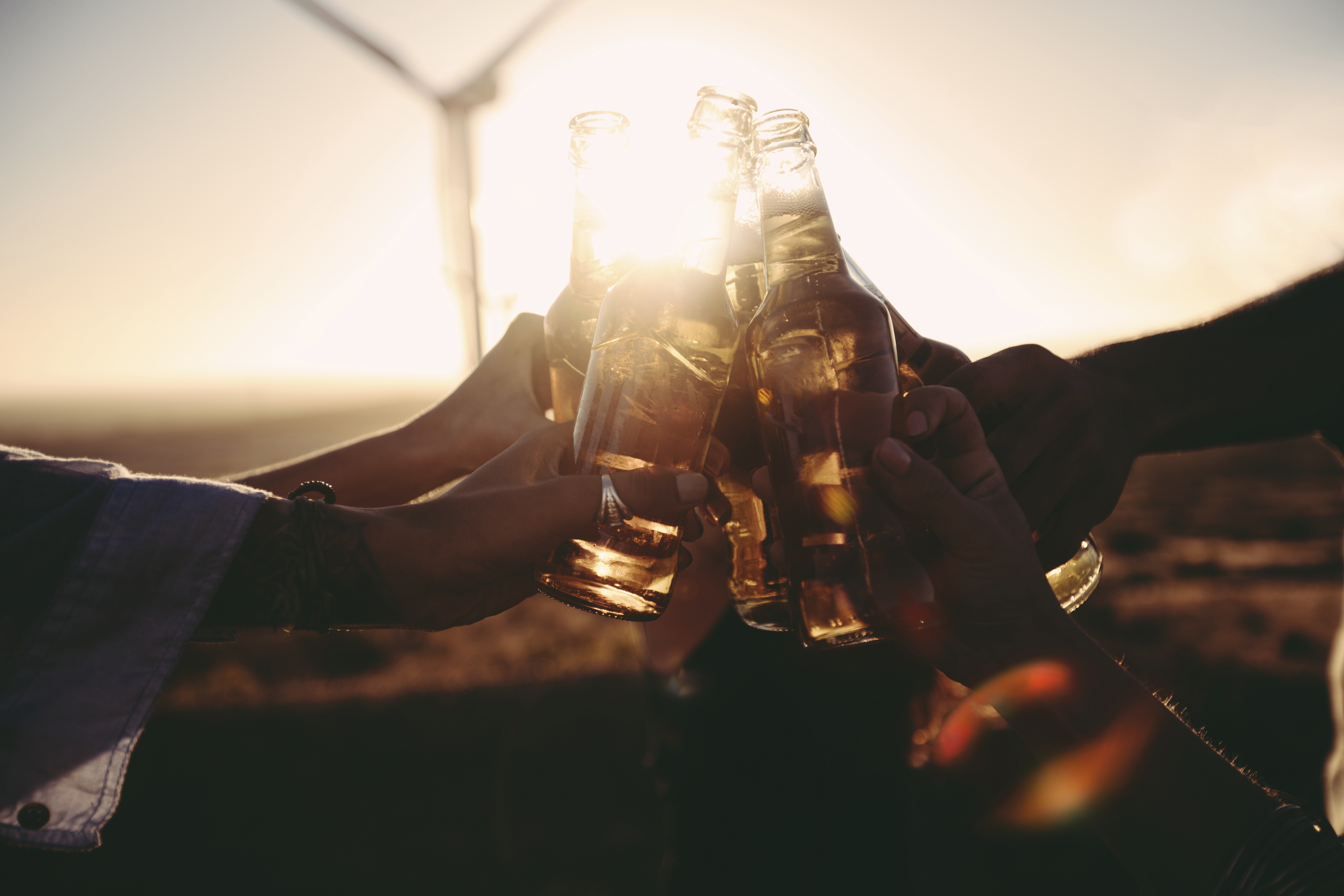 Group of friends celebrating and toasting with beer on a summer sunset
