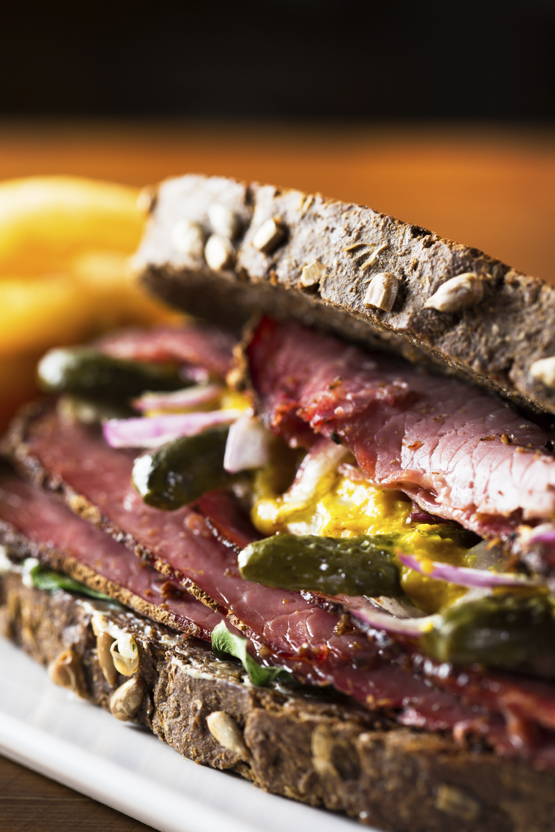 Delicious pastrami sandwich with french fries ready to eat.