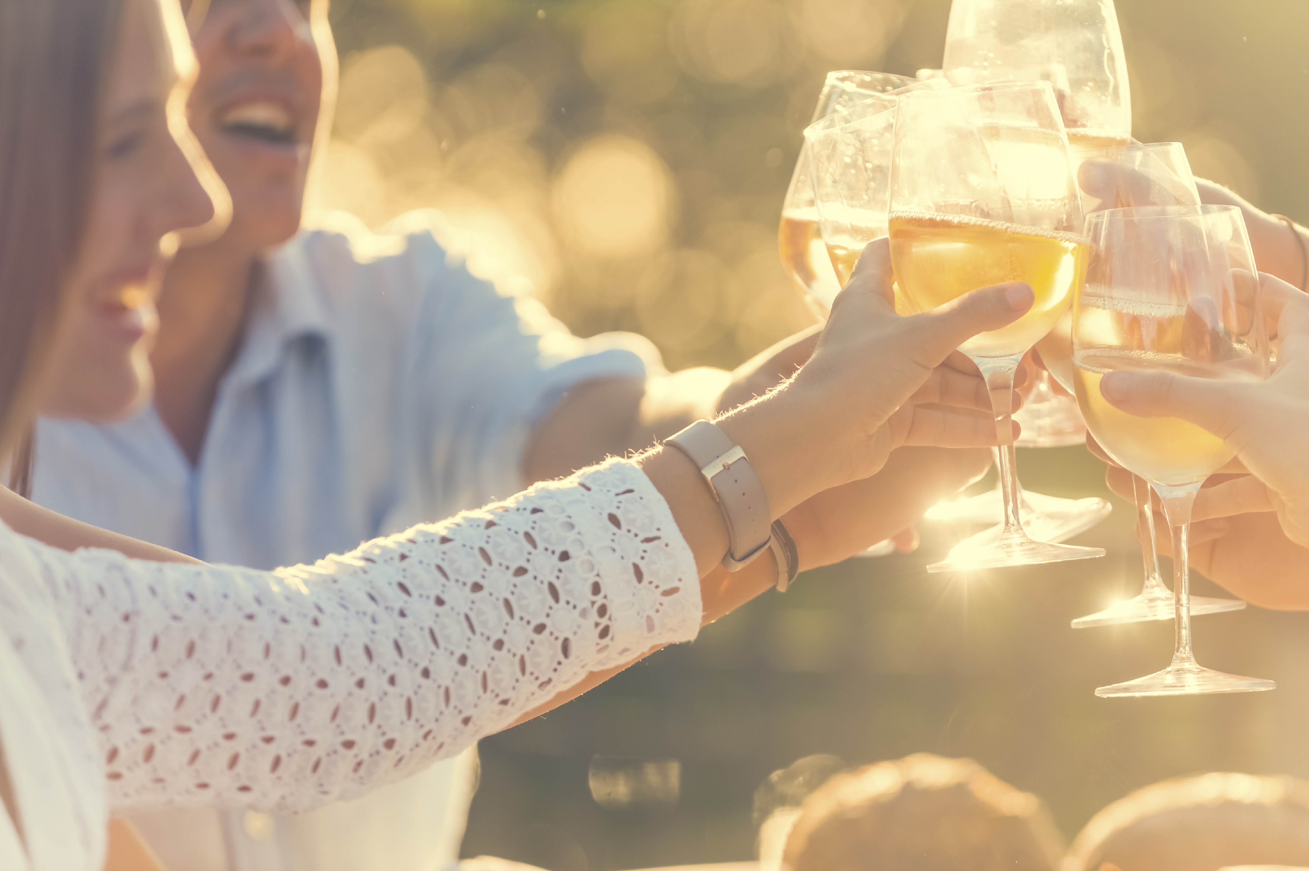 Group of friends having drinks at sunset. They are celebrating with a wine toast. They are smiling and happy. Lens flare