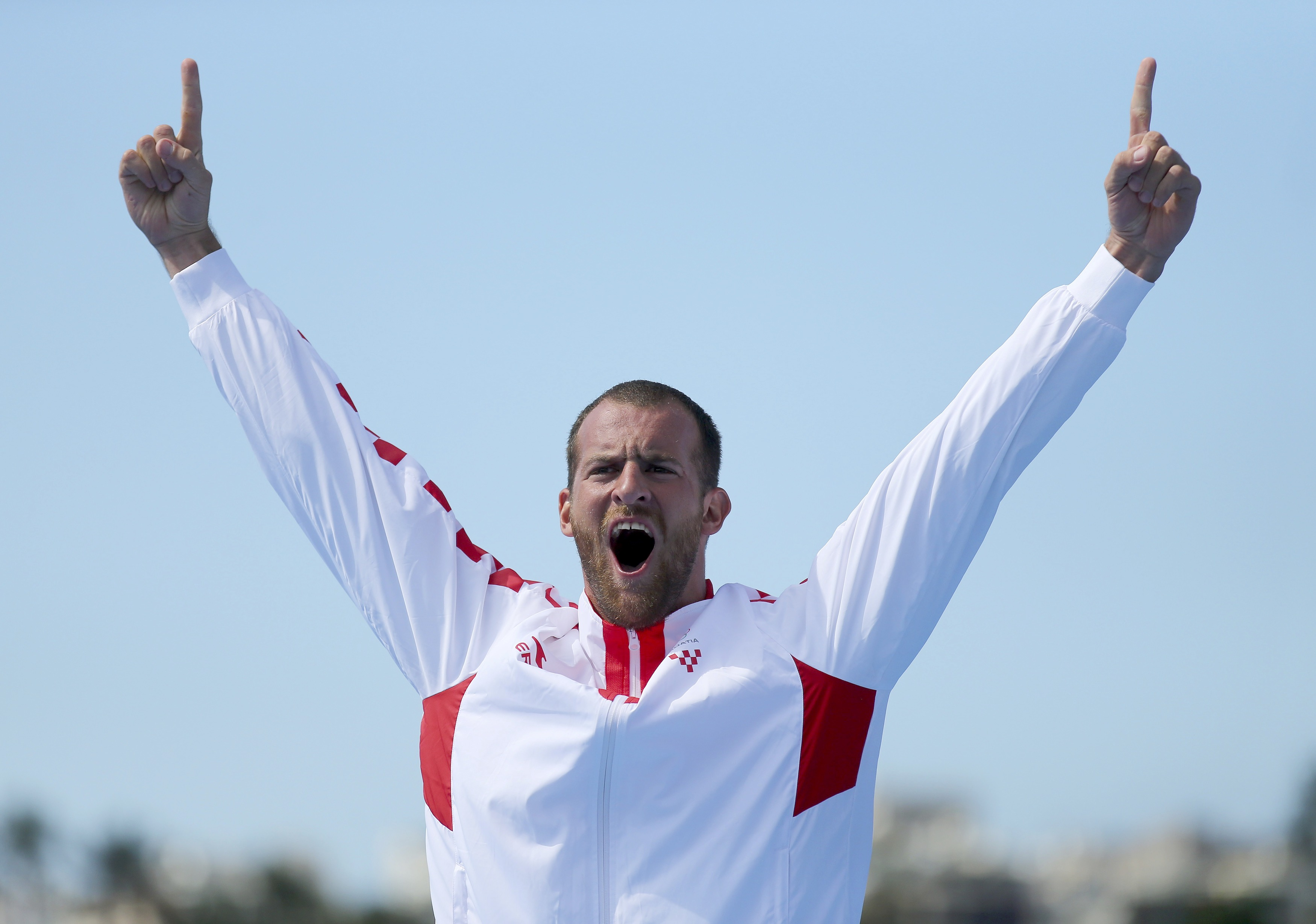 2016 Rio Olympics - Rowing - Final - Men's Single Sculls Victory Ceremony - Lagoa Stadium - Rio De Janeiro, Brazil - 13/08/2016. Silver medalist Damir Martin (CRO) of Croatia reacts. REUTERS/Carlos Barria   FOR EDITORIAL USE ONLY. NOT FOR SALE FOR MARKETING OR ADVERTISING CAMPAIGNS.