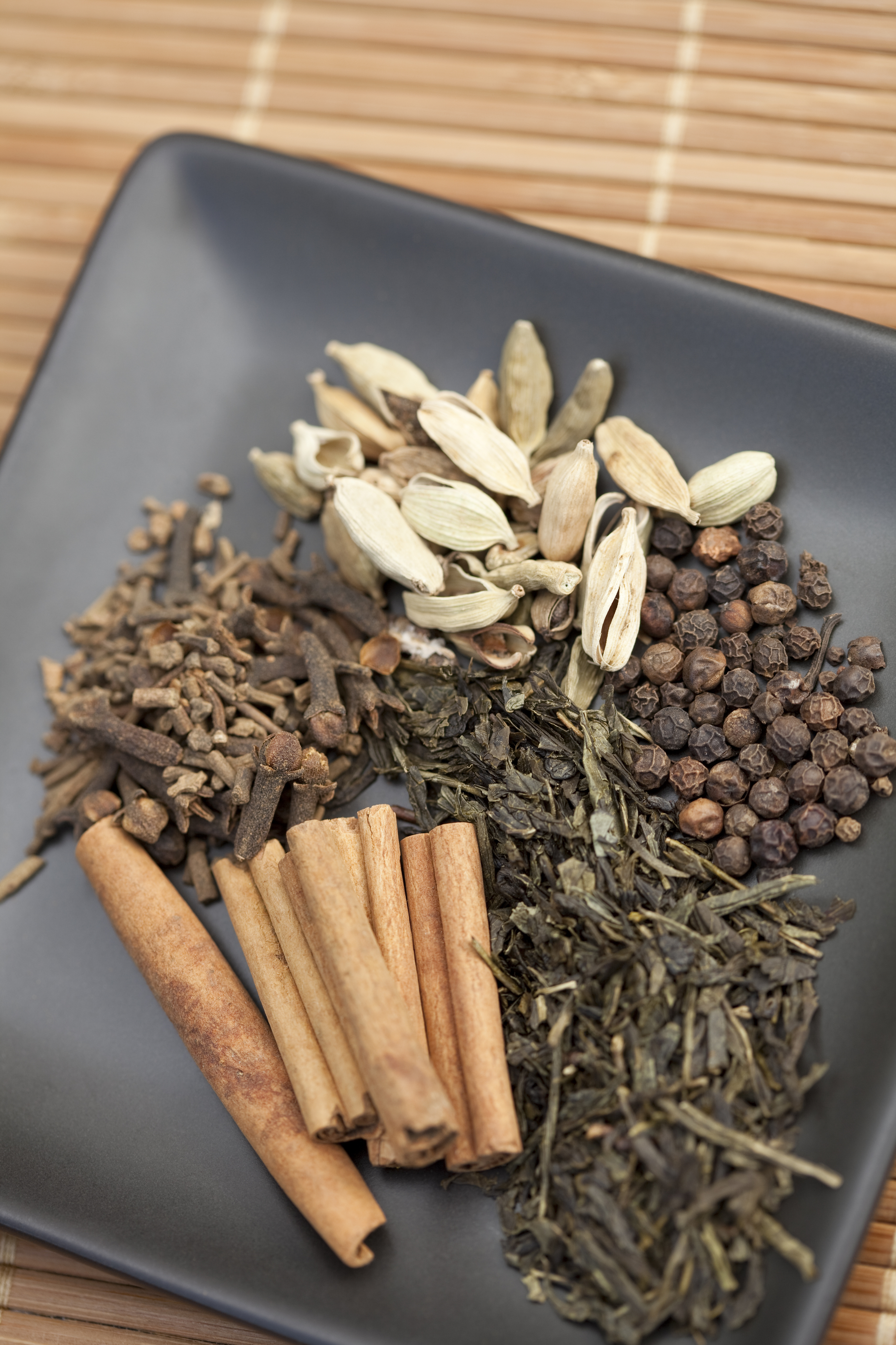 Cardamom, clove, cinnamon, green tea and black pepper