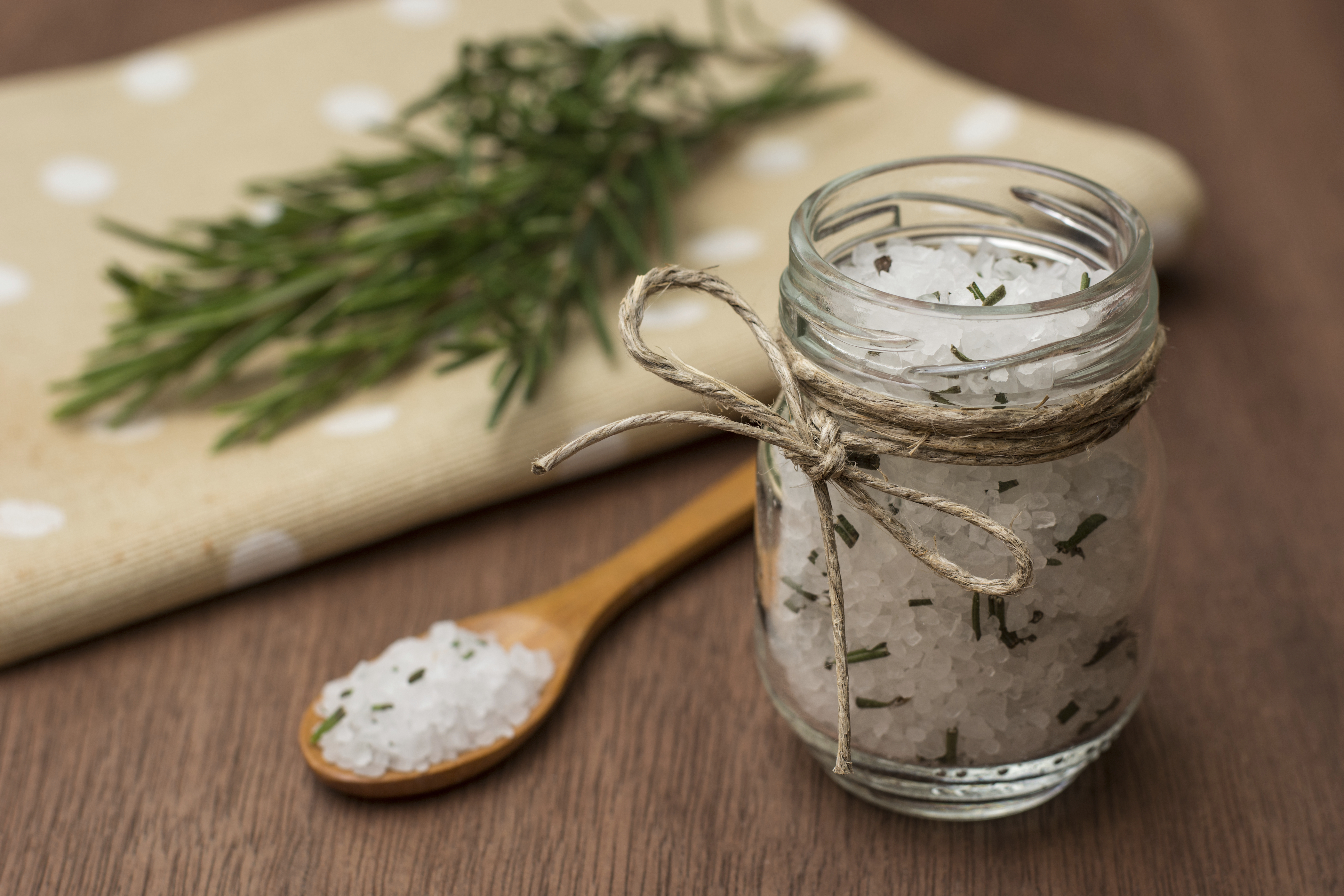 Homemade salt with rosmary