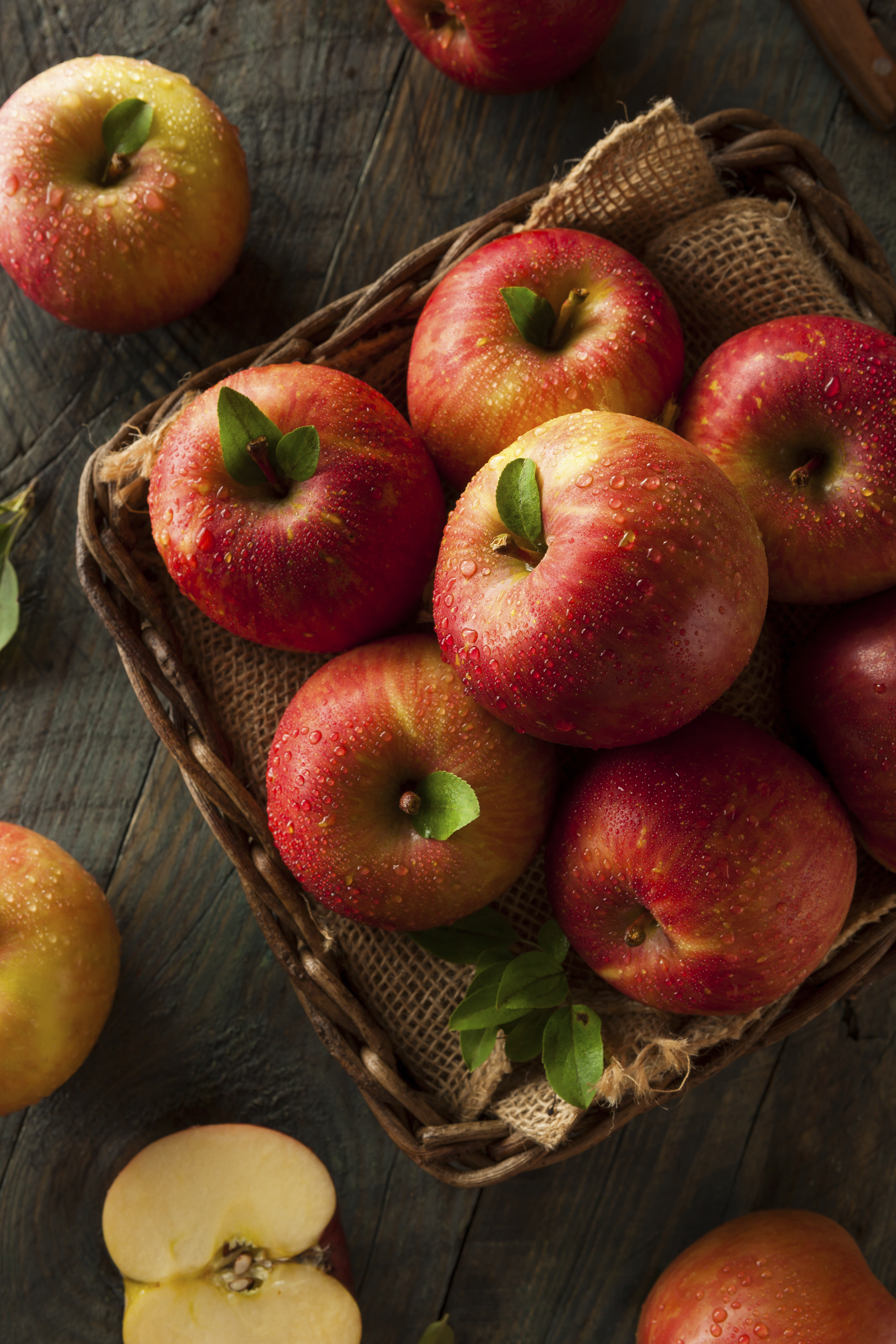 Raw Red Fuji Apples in a Basket