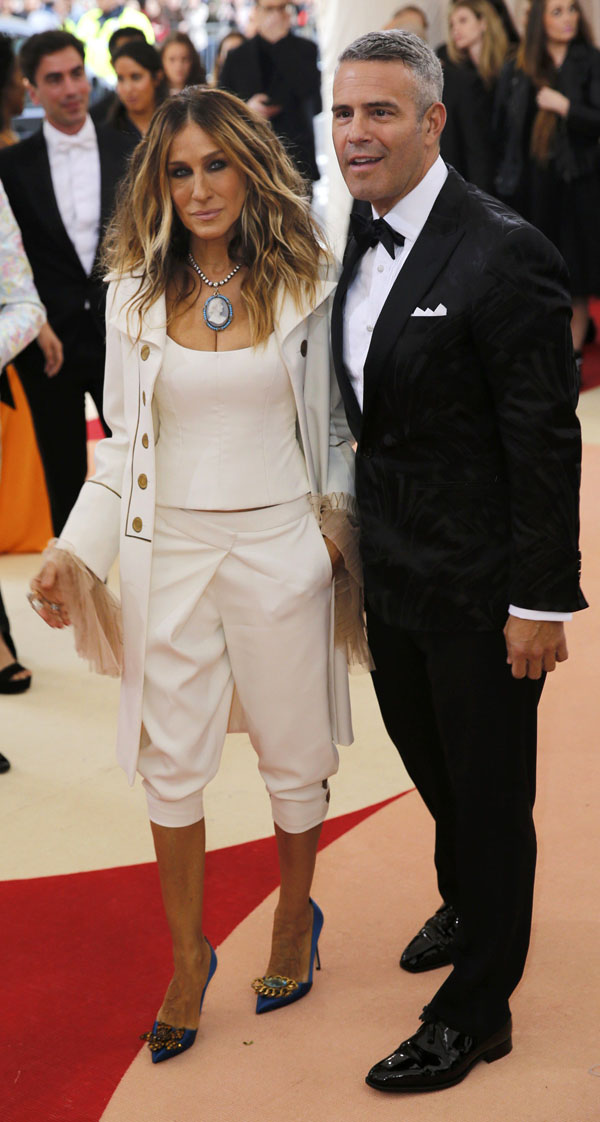 Actress Sarah Jessica Parker (L) and television host Andy Cohen arrive at the Metropolitan Museum of Art Costume Institute Gala (Met Gala) to celebrate the opening of