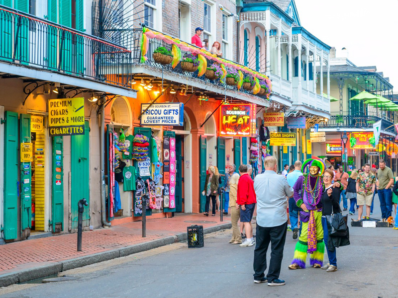 Bourbon Street, French Quarter, New Orleans, Louisiana, USA, Image: 218490005, License: Rights-managed, Restrictions: , Model Release: no, Credit line: Profimedia, Huber images