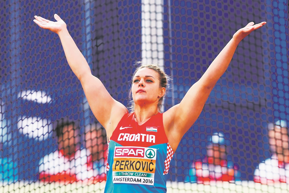 AMSTERDAM, NETHERLANDS - JULY 08:  Sandra Perkovic of Croatia in action during the final of the womens discus on day three of The 23rd European Athletics Championships at Olympic Stadium on July 8, 2016 in Amsterdam, Netherlands.  (Photo by Dean Mouhtaropoulos/Getty Images)