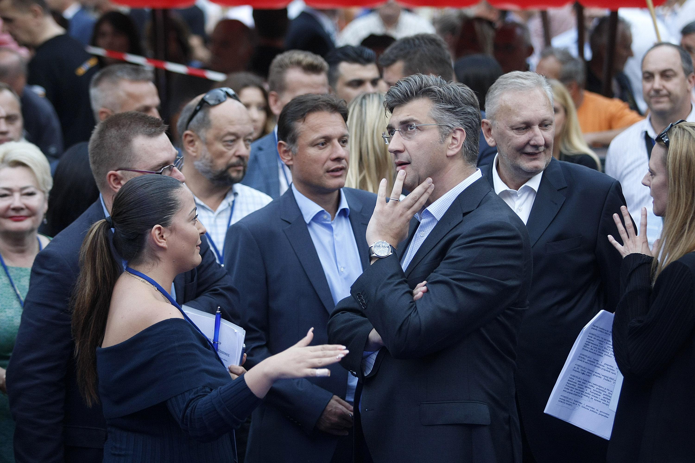 Završni skup Hrvatske demokratske zajednice na Cvjetnom trgu u Zagrebu. Na fotografiji: Andrej Plenković